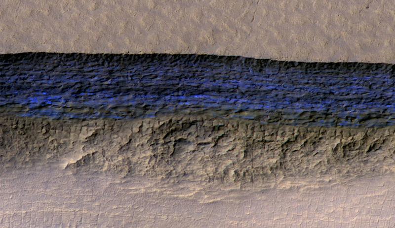 Das entdeckte Wassereis am Mars