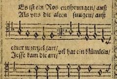 """Text des Weihnachtsliedes """"Es ist ein Ros entsprungen"""", Erstdruck im Speyerer Gesangbuch von 1599"""