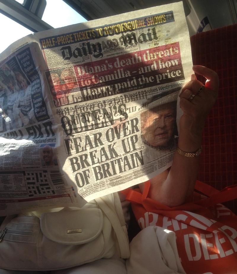 Titelseite der Daily Mail vor dem Schottland Referendum 2014