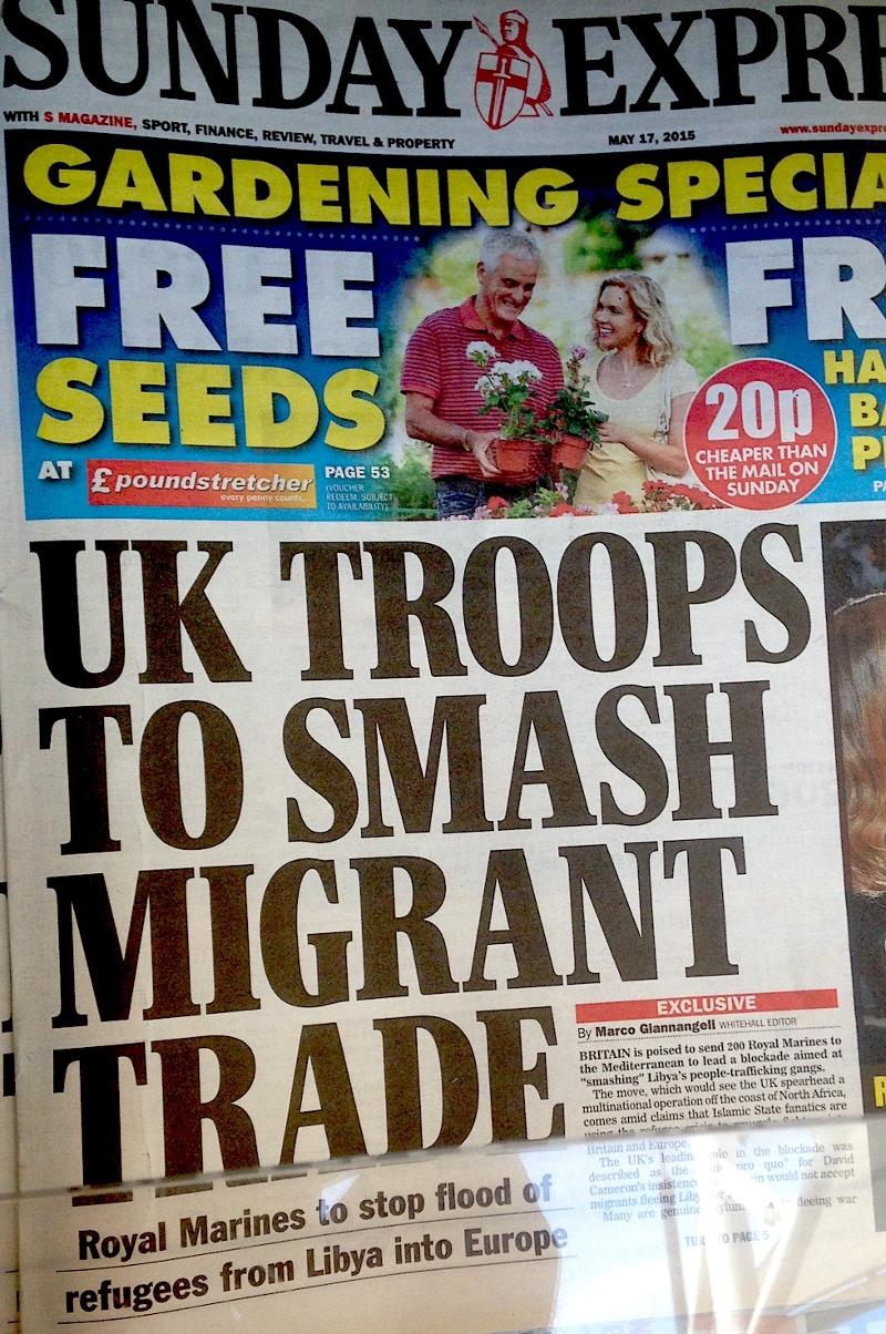 Der Sunday Express 2015 auf dem Kriegspfad gegen Migranten