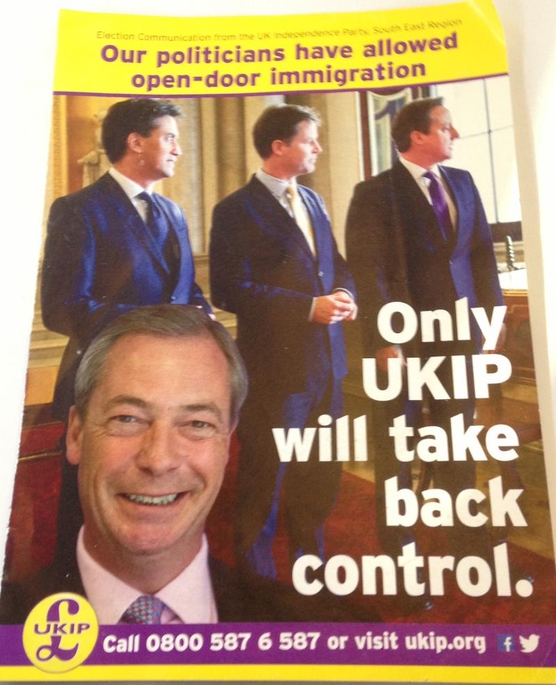 "UKIP Flugblatt ""Take Back Control"" vom Mai 2014"