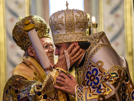 Patriarch Bartholomaios I. und Metroploit Epiphanius