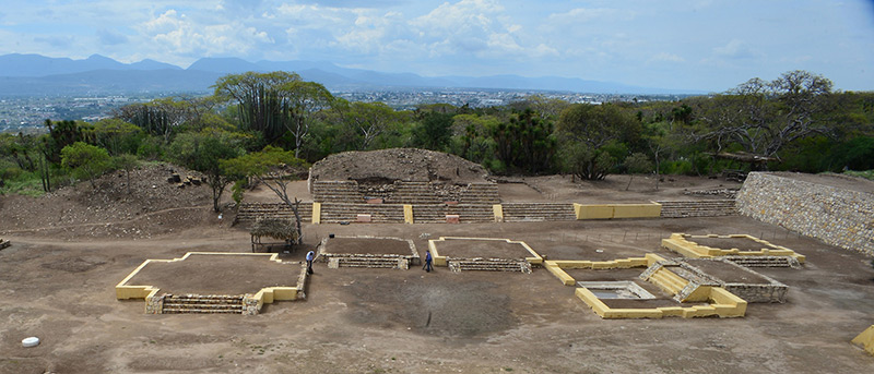 Überreste des Tempels des aztekischen Fruchtbarkeitsgotts