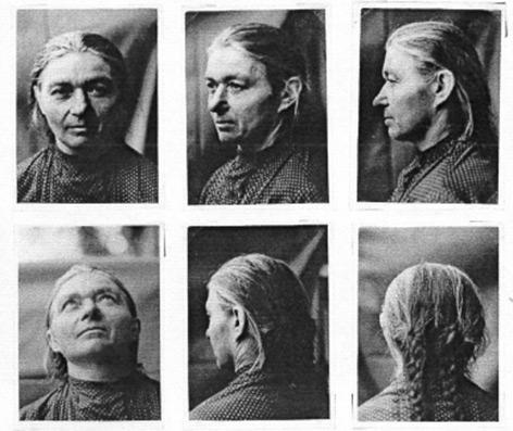 """Messbögen mit anthropometrischen Fotografien der Sektion """"Rassen- und Volkstumsforschung"""" (Ausschnitt)"""
