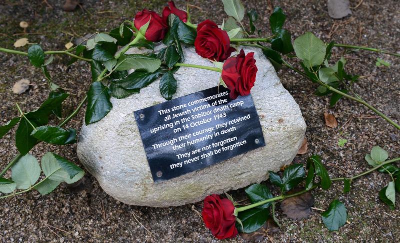 Gedenkstein in der Nähe des polnischen Vernichtungslagers Sobibor