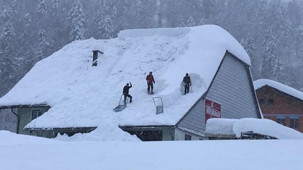 Schneeschaufeln in Hintersee und Faistenau