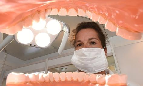 Zahnärztin vor Gebiss