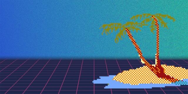 Pixelgrafik: Meer und Insel