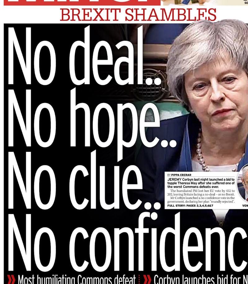 """Daily Mirror Titel """"No hope No clue No deal No confidence"""""""