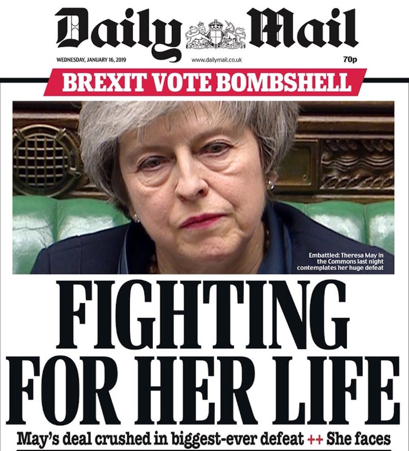 "Daily Mail Titelseite: ""Fighting for her life"""