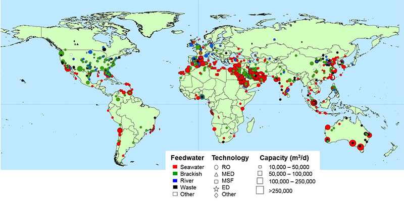 Weltkarte: Standorte der Entsalzungsanlagen
