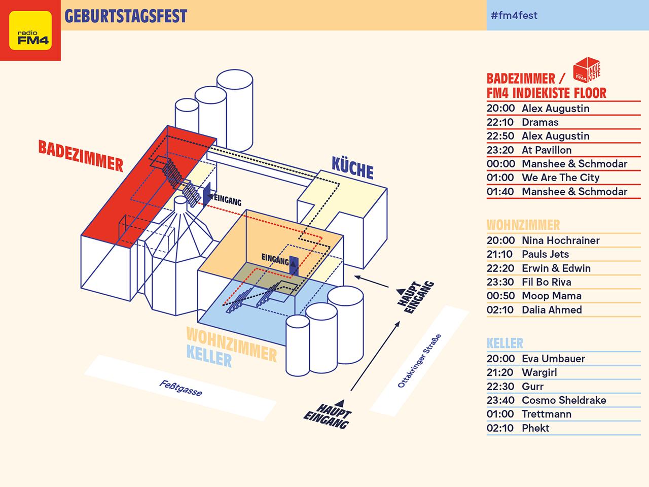 Geländeplan beim FM4 Geburtstagsfest