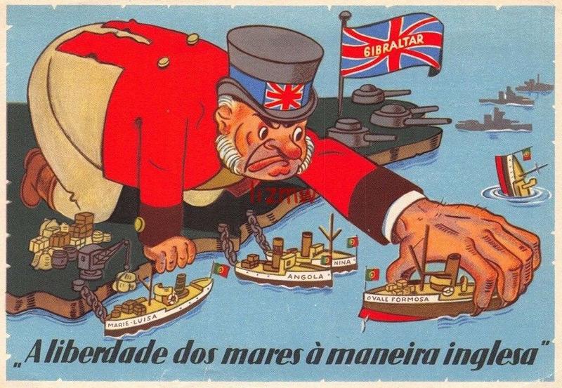 """Portugiesische Karikatur über die britische Kontrolle der Straße von Gibraltar """"Die Freiheit der Meere auf englische Art"""""""