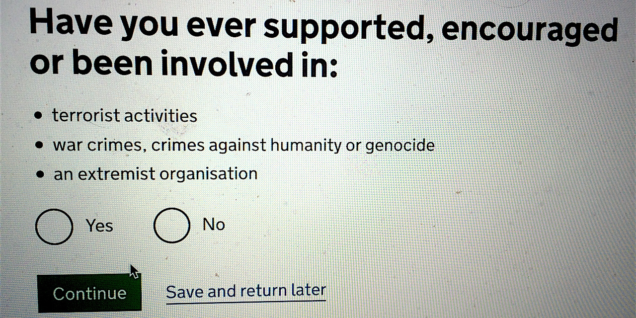 Frage: Sind Sie Extremist oder Terrorist?