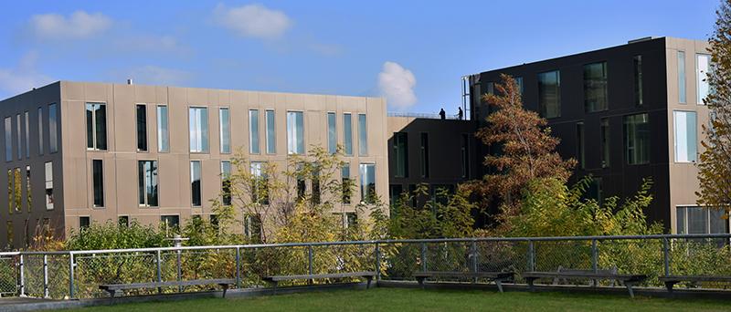 Moderne Campusgebäude mit Grünflächen und Bäumen