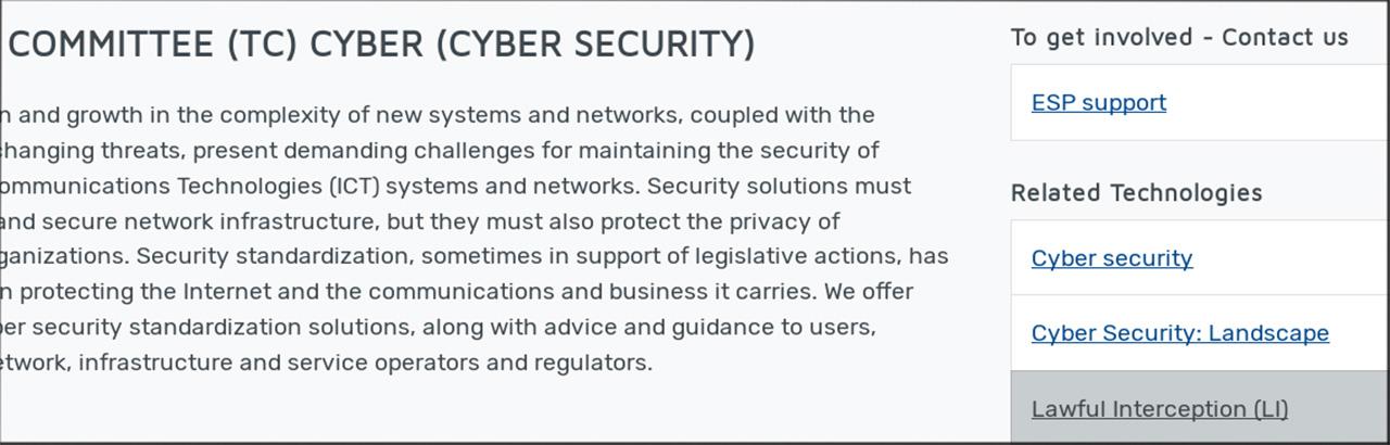 Screenshot aus Dokument von ETSI