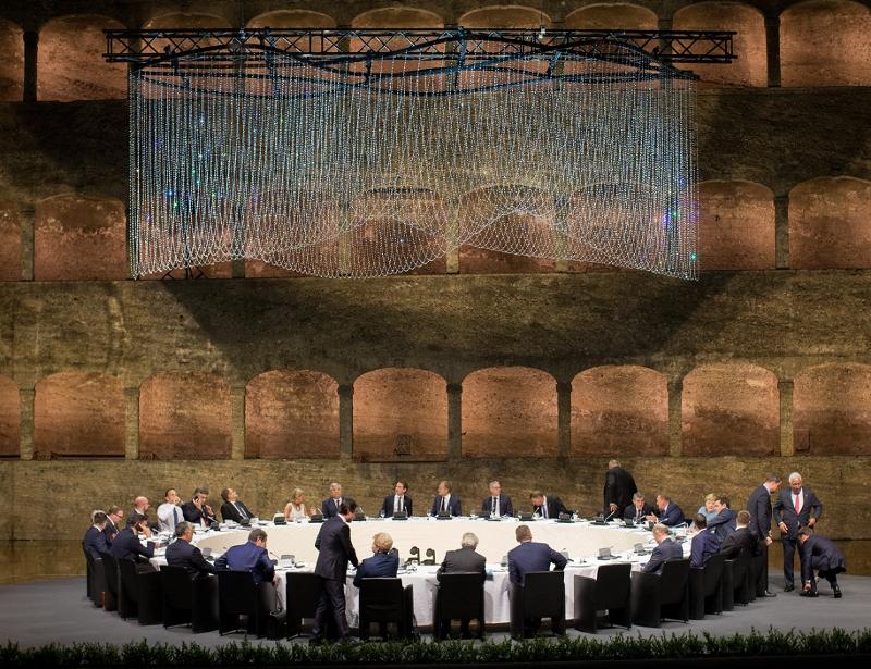 Abendessen beim EU Gipfel in Salzburg am 18.9.2018