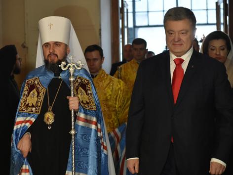 Metropolit Epiphanius mit Präsident Petro Poroshenko