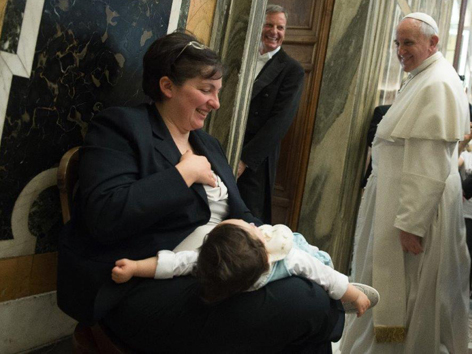 Papst beim Treffen mit movimento per la vita (2014)