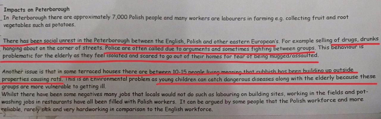 Ausschnitt aus einem Geographie-Arbeitsbogen einer Schule in Peterborough