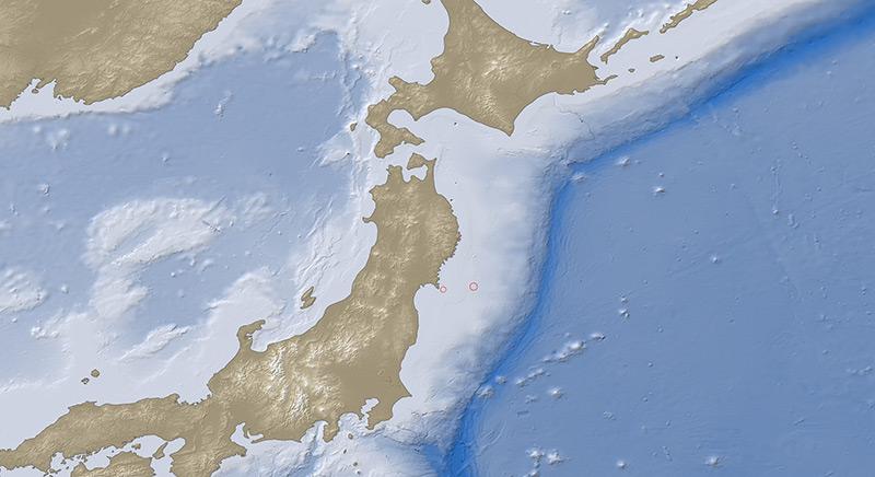 Karte mit den Inseln Japans und dem östlich davon gelegenen Japangraben