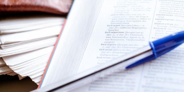Stift auf Wörterbuch
