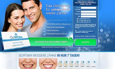 """Werbung für das Produkt """"GoWhite"""""""