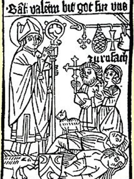 """Wallfahrtsbild aus Rouffach im Elsass mit Inschrift: """"Sancta valentin bit got fur vns zu rufach"""", 1480"""