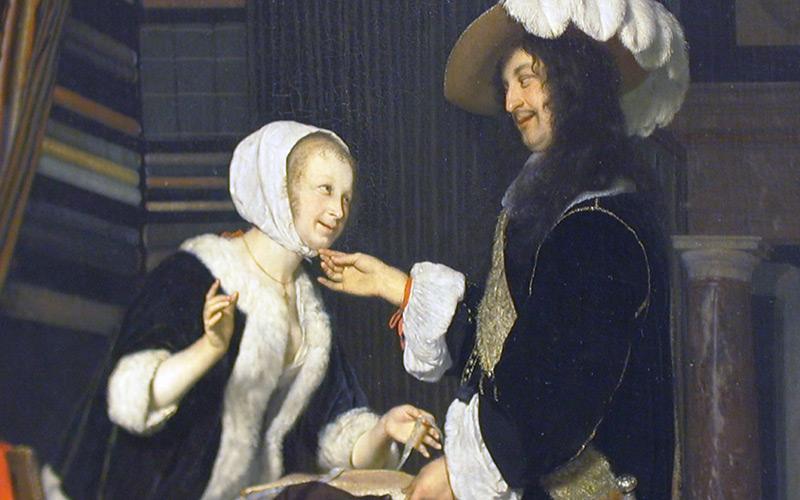"""""""Kavalier im Verkaufsladen"""" von Frans van Mieris d. Ä. , Kunsthistorisches Museum"""