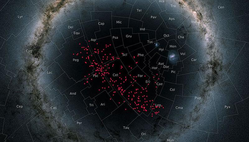 Sterne innerhalb der kreisförmigen Milchstraße