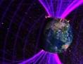 """Künstlerische Darstellung eines """"Themis""""Satelliten, der die Erdmagnetosphäre untersucht"""
