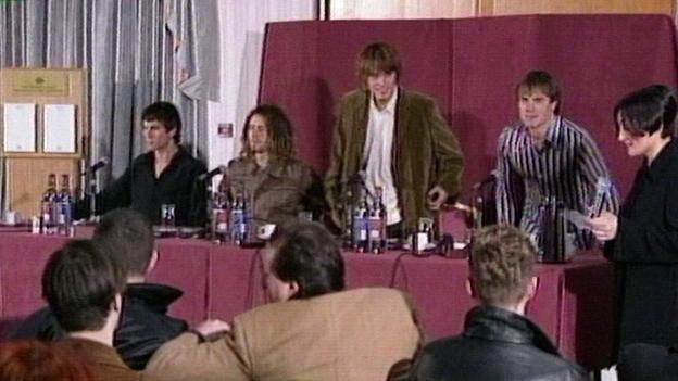 Take That bei ihrer Trennungspressekonferen am 13.2.1996