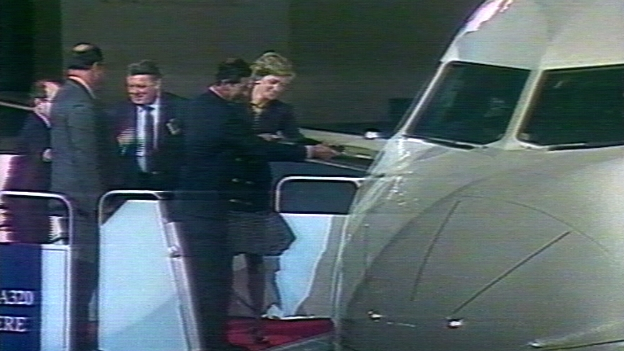 Prinzessin Diana und Prinz Charles tauf den Airbus A-320 in Toulouse