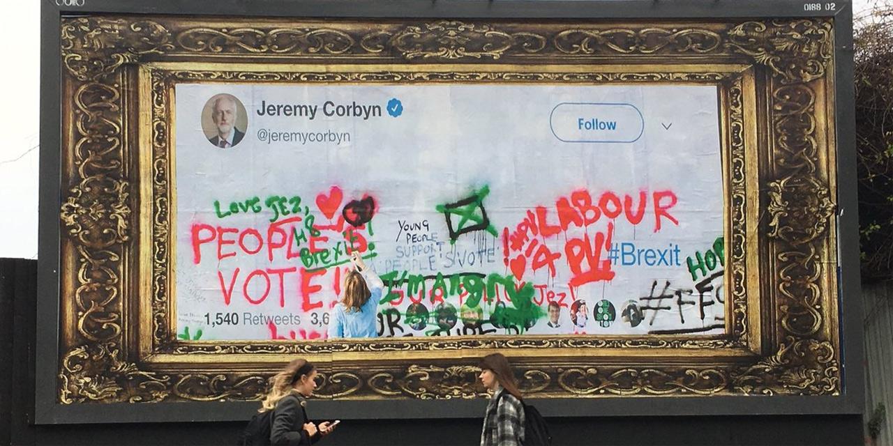 Bildrahmen mit leerem Bild, Twitter-Profilbild von Jeremy Corbyn