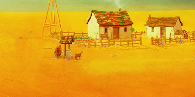 """Titelscreen aus """"The Stillness of the Wind"""": Der Bauernhof in einer Totalen."""