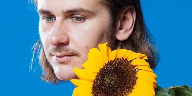 Voyou hinter einer Sonnenblume
