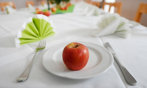 Apfel auf einem Teller im Speisesaal des Klosters Pernegg