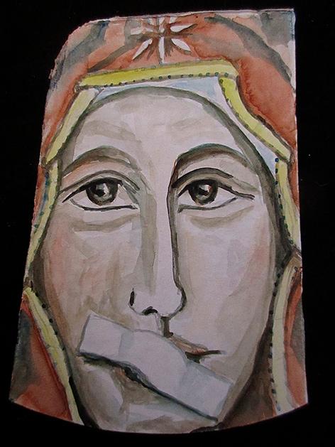 Maria mit Pflaster auf dem Mund