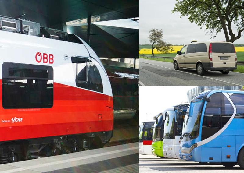 Kollage Regionalzug, Sammeltaxi und Regionalbus