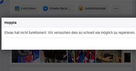 Fehlermeldung Facebook