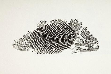 Historischer Fingerabdruck mit Landschaft im Hintergrund
