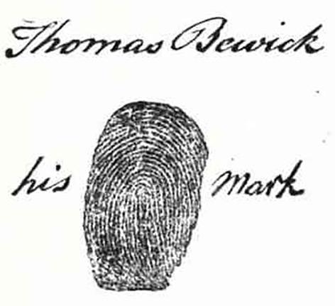 Historischer Fingerabdruck mit Unterschrift