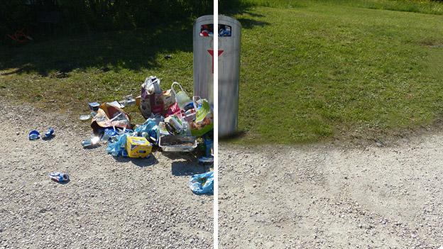 Müll neben einer Mülltonne
