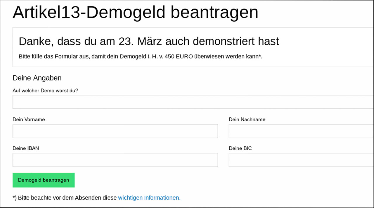 Satire über Artikel 13 Copyright Demo