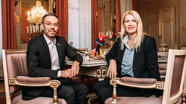 Claudia Stöckl und Innenminister Herbert Kickl