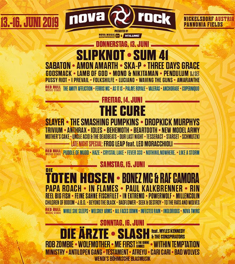 Das Line-up zum Nova Rock