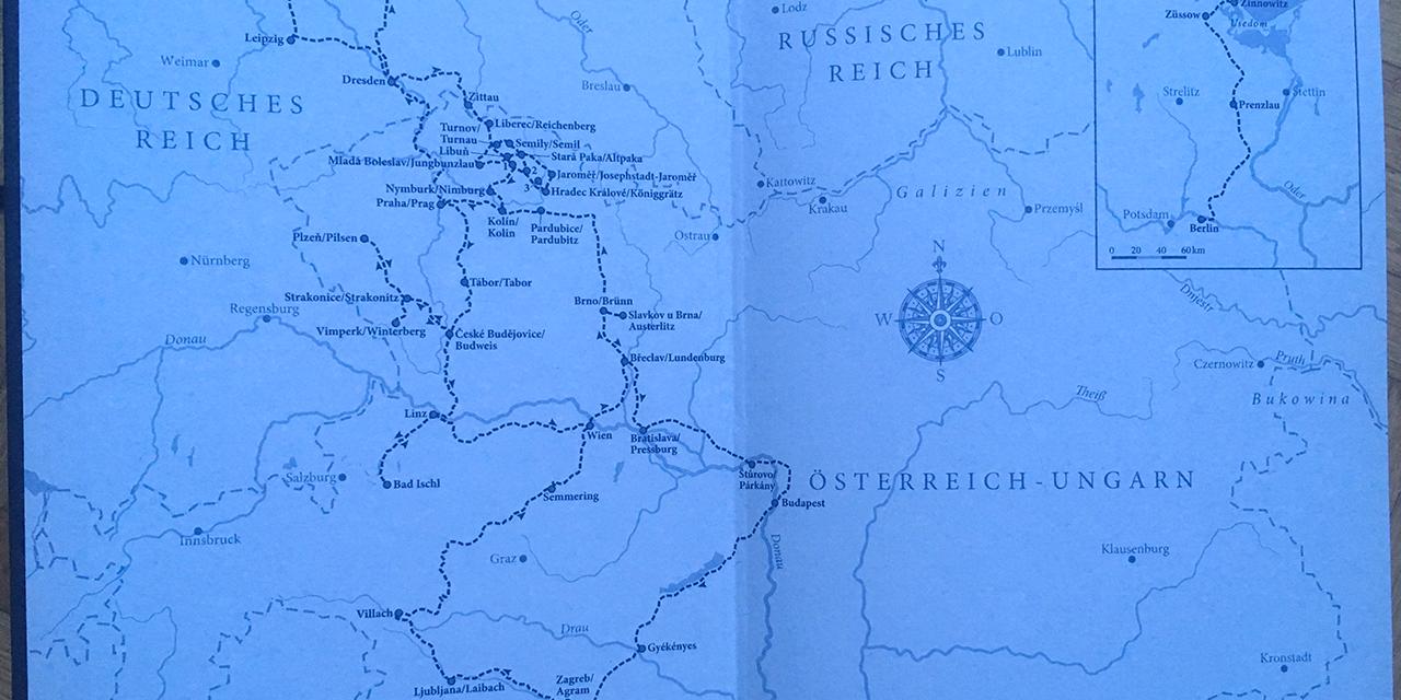 """Karte aus Jaroslav Rudiš """"Winterbergs letzte Reise"""""""
