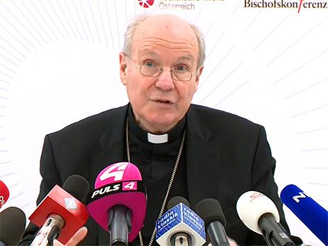 Kardinal Christoph Schönborn in einer Pressekonferenz zum Abschluss der Bischofskonferenz am 22. März 2019