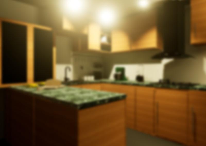 Virtueller Blick in eine Küche mit Grauem Star