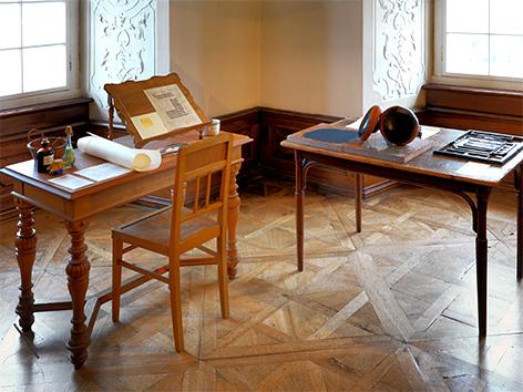 Nachgebaute Druckwerkstatt in der Jahresausstellung 2019 im Stift Klosterneuburg
